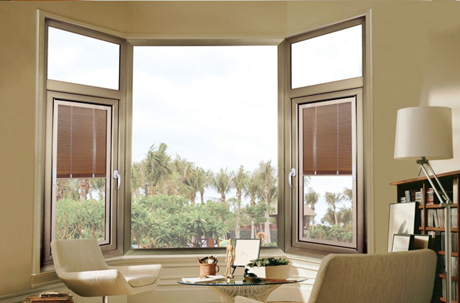Aluminium casement swing window with built in blinds for Best window treatments for casement windows